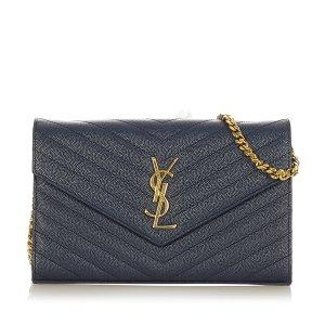 Yves Saint Laurent Cartera azul Cuero