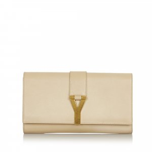 Yves Saint Laurent Clutch white leather