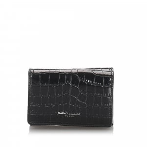YSL Crocodile Embossed Compact Wallet