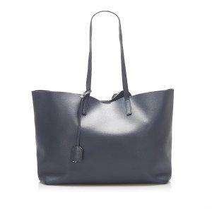 Yves Saint Laurent Sac fourre-tout bleu foncé cuir