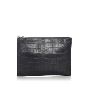 YSL Embossed Leather Clutch Bag