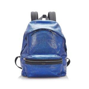 Yves Saint Laurent Rugzak blauw Leer