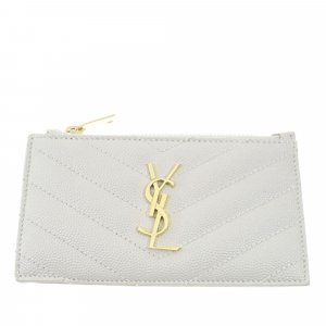 Yves Saint Laurent Custodie portacarte bianco Pelle