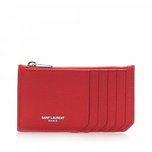 Yves Saint Laurent Porte-cartes rouge cuir