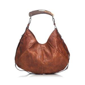 Yves Saint Laurent Sac hobo brun foncé cuir