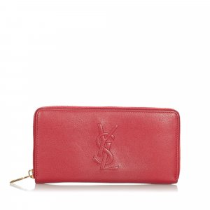 YSL Leather Zip Around Long Wallet