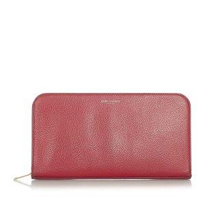 YSL Leather Zip Around Wallet