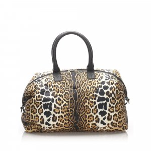 YSL Leopard Print Nylon Easy Boston Bag