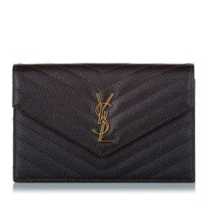 YSL Monogram Chevron Envelope Leather Crossbody Bag