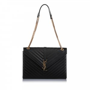 YSL Monogram Envelope Leather Shoulder Bag