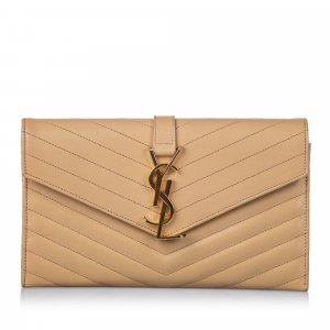 YSL Monogram Quilted Leather Clutch Bag