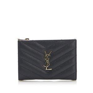 YSL Monogram Zip Leather Wallet