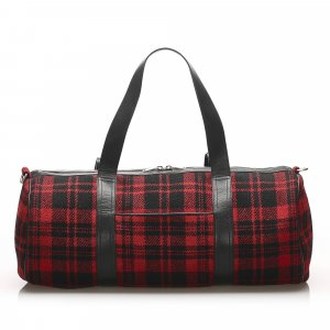 YSL Plaid Wool Satchel