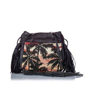 YSL Printed Canvas Helena Fringe Crossbody Bag