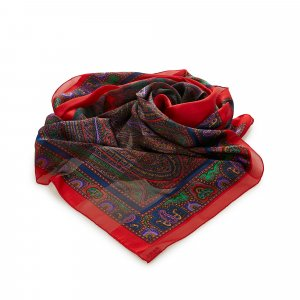 Yves Saint Laurent Scarf red silk