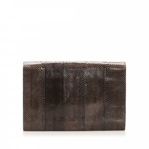 YSL Python Leather Clutch Bag