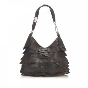 Yves Saint Laurent Bolso de compra marrón oscuro Cuero
