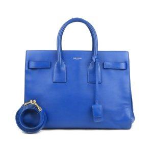 Yves Saint Laurent Tornister niebieski Skóra