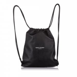 YSL Teddy Drawstring Leather Backpack