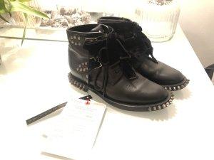 YSL Yves Saint Laurent Combat Boots Biker Nieten Military Leder schwarz
