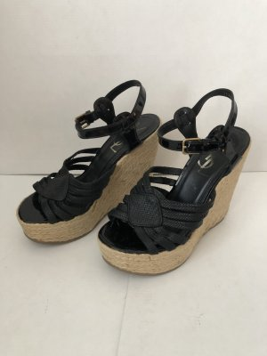 YSL Yves Saint Laurent wedge Sandalen aus Bast