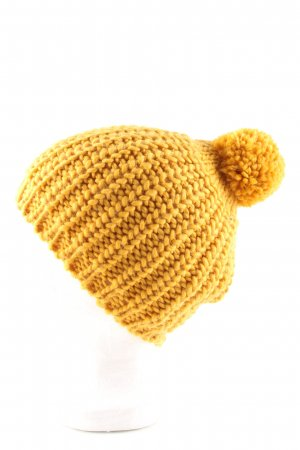 YSTRDY Bobble Hat light orange cable stitch casual look