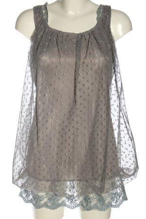 Yumi Blouse topje lichtgrijs gestippeld patroon casual uitstraling