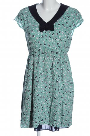 Yumi Shortsleeve Dress black-turquoise allover print casual look