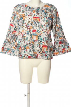 Yumi Langarm-Bluse Allover-Druck Casual-Look