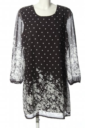 Yumi Langarmkleid schwarz-weiß Blumenmuster Casual-Look
