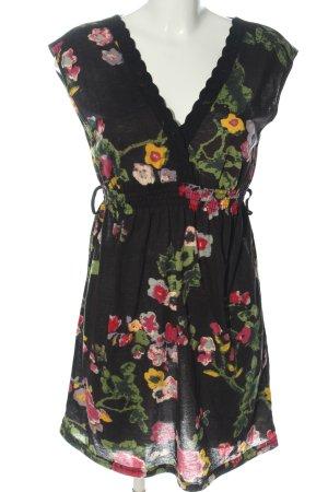 Yumi Robe courte noir-vert motif de fleur style décontracté