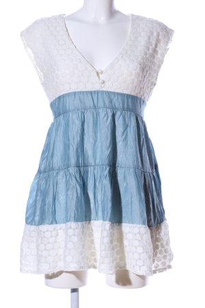 Yumi Minikleid weiß-blau Punktemuster Casual-Look