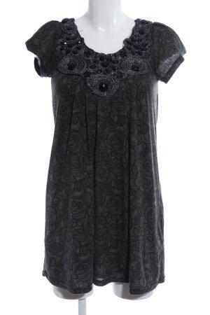 Yumi Chemisier nero-grigio chiaro motivo floreale elegante