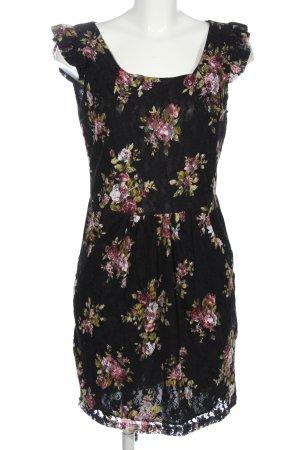 Yumi Lace Dress black-pink flower pattern casual look