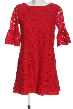 Yumi Robe en dentelle rouge imprimé allover style classique