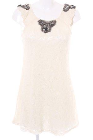 Yumi Koronkowa sukienka kremowy Wzór w kwiaty Styl klasyczny