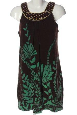 Yumi Sukienka z dzianiny czarny-zielony Wzór w kwiaty Elegancki