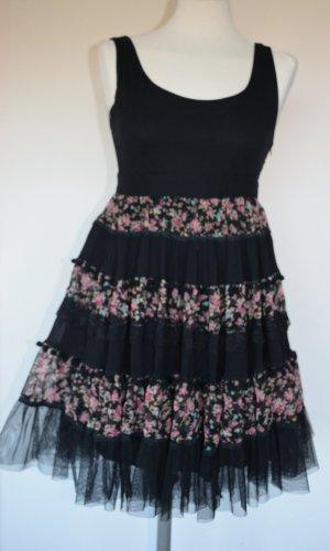 Yumi Vestido corte imperio negro tejido mezclado
