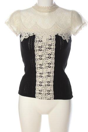 Yumi Koronkowa bluzka czarny-w kolorze białej wełny Elegancki