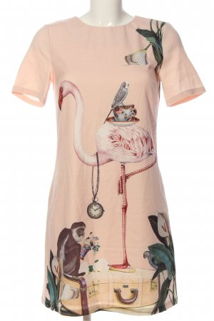 yuni Kurzarmkleid pink Motivdruck Casual-Look