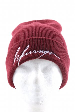 Yupoong Knitted Hat red-white printed lettering casual look