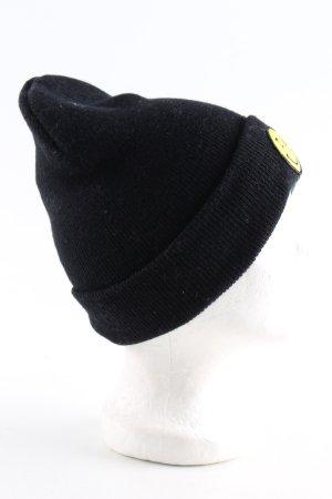 Yupoong Strickmütze schwarz-blassgelb Motivdruck Casual-Look