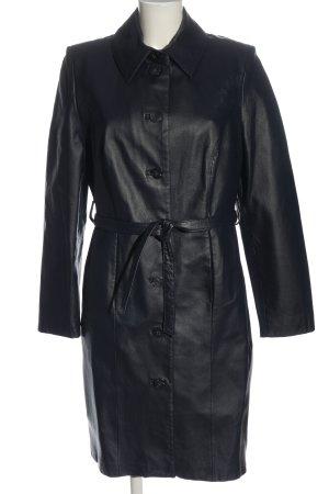 Yuppie Skórzany płaszcz czarny W stylu casual