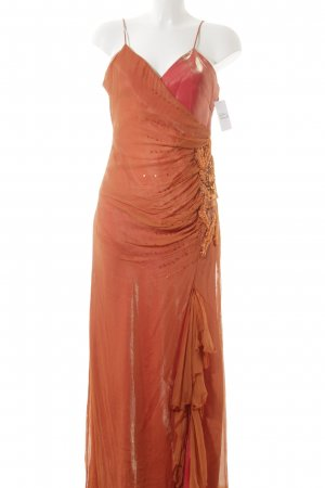 Yves Calin Abendkleid orange Blumenmuster Elegant