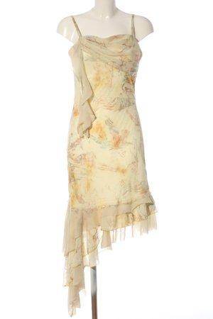 Yves Calin Trägerkleid creme-hellorange abstraktes Muster Elegant