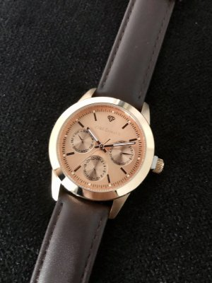 Yves Camani Watch With Leather Strap rose-gold-coloured-brown leather
