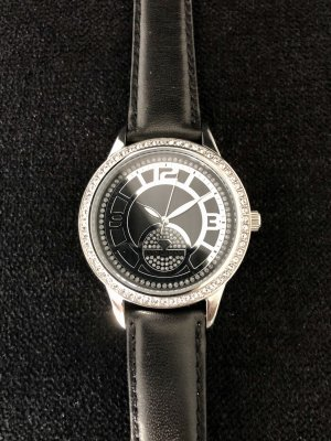 Yves Camani Zegarek ze skórzanym paskiem czarny-srebrny Skóra