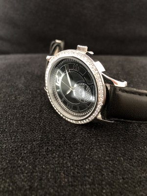 Yves Camani Watch With Leather Strap black-silver-colored leather