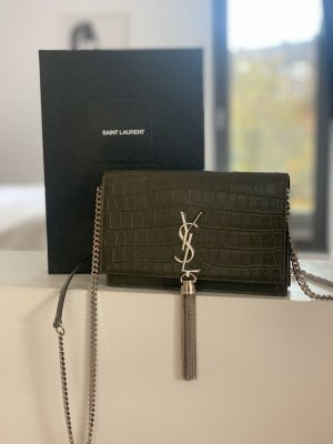 Yves Saint Laurent Kate Monogramme Chain Clutch Kaki