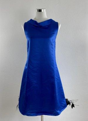 YVES SAINT LAURENT Kleid Cocktailkleid Gr. DE 34 FR 36 Blau Federsaum